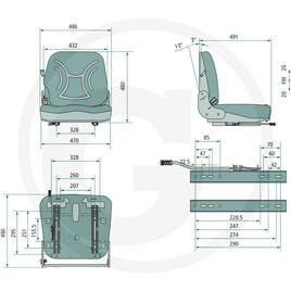 mechanisch gefedert PVC Schleppersitz für Stapler Schlepper Landmaschinen Sitz
