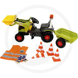 Rolly Toys Pedal tractor with front loader, flashing light and sound steering wheel, including rollyKid trailer (Claas), rolly cones, rolly high-visibility vest, rolly gloves - recommended age 3-5 years