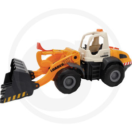 Dickie Freewheeling wheel loader, with battery-operated arm, light, sound, manual bucket, open cab, orange/white