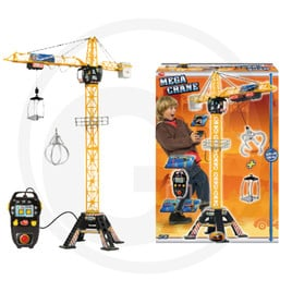 Dickie Mega Crane, with cable remote control for moving left, right, up and down, open cab for one figure, crane can be rotated by 350°, including accessories, height: 120 cm