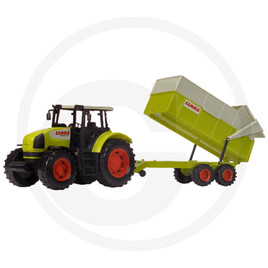 Dickie Tractor with tipper, moving parts, 57 cm, freewheeling, green/beige/red