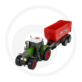Dickie Tractor with friction, light, sound, battery-operated Fliegl trailer, moving parts, length: 41 cm