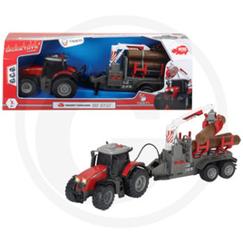 Dickie Tractor with friction, light, sound, battery-operated trailer, moving parts, length: 42 cm