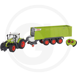 Tractor with trailer, with driving and steering function, 2.4 GHz, including wireless remote control, light, plastic, including batteries