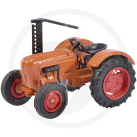 Schuco Tractor with cutter bar, orange, die-cast